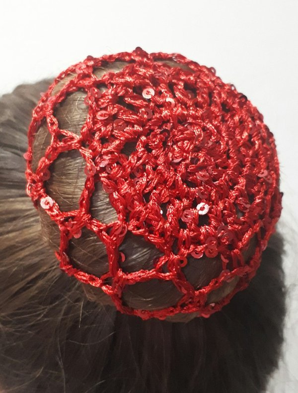 Filet chignon sequins rouge